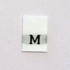 Medium M Clothing Size Tags labels tabs-Qty 250-sew in woven shushustyle