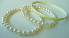 3 ACCESSORIZE BRACELETS - 1 VERY PALE YELLOW & 2 CREAMY PEARL - BRAND NEW