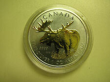 2012 Bullion $5 1oz Moose .9999 Silver Maple Leaf SML w/ gold plate Canada COIN