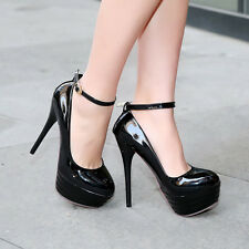 Ladies Womens Ankle Strappy Platform High Heel Party Pumps Shoes UK 1-11 D275