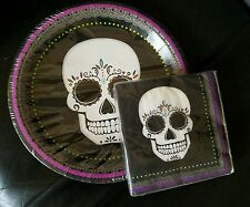 NIP SUGAR SKULL 12 PLATES & 20 NAPKINS BLACK PURPLE PARTY HALLOWEEN