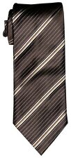 $285 NEW BRIONI BROWN GOLD BEIGE DIAGONAL STRIPES SILK MENS NECK TIE