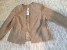 Oscar De La Renta Jacket Embroidered Tan Camel Hair Lined Sz 14W