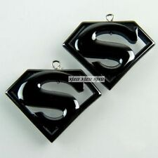 2PCS 35x21x4mm Pretty Carved Superman Hematite Pendant A-TS130