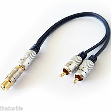 2 RCA macho a 1 RCA cable adaptador hembra-y Splitter/plomo Subwoofer Audio Split