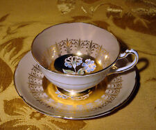 VINTAGE ROYAL GRAFTON TAN & GOLD CUP & SAUCER FLORAL