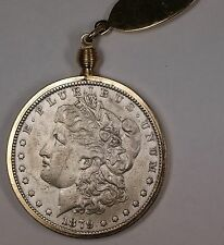 1879 Morgan Silver Dollar $1 Circulated Coin on a Gold Colored Metal Keychain