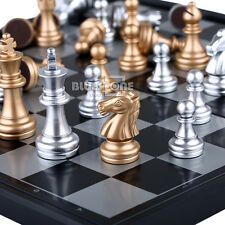 Silver & Gold Folding Magnetic Chess Set Rosewood Educational Board Travel Game