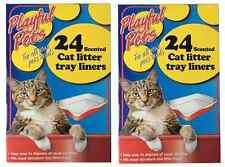 2 x 24 PACK SCENTED CAT LITTER TRAY LINERS DISPOSABLE BAGS WHITE 66CM x 30CM