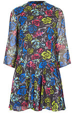 TOPSHOP ROSE FLORAL PRINT CHIFFON GODET DRESS 12 40 8!