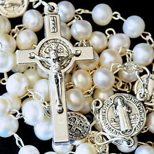 Natural White Cultured Pearl Beads St. Benedict Rosary Christian Cross Necklace