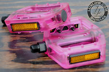 "Pink Clear Iped Platform Bike Pedals 9/16"" BMX MTB Cruiser Fixie Track Bicycle"