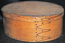 """ANTIQUE 4 FINGER SHAKER LARGE OVAL PANTRY BOX  11"""" x 8"""" x 4-1/2"""""""