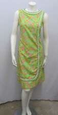 "VINTAGE THE LILLY PULITZER DRESS SIGNED ""LILLY"" GREEN WHITE CROCHET TRIM 8 SMALL"