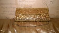 NEW PRETTY SPARKLING GOLD EVENING CLUTCH BAG WITH STRAP BOUGHT MISS SELFRIDGE