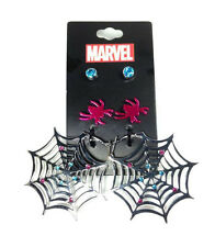 Marvel Comics SPIDER GWEN STUD & DANGLE 3 PC EARRING SET NWT metal alloy cosplay
