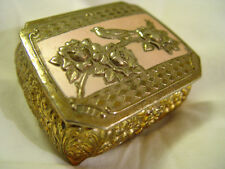 "VINTAGE JEWELRY BOX FLORAL / BIRD  METAL JAPANESE 2 1/4"" x 3"" x 1 1/2"""