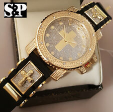 NEW MEN ICED OUT TECHNO PAVE GOLD PT CROSS HIP HOP BULLET SILICONE BAND WATCH