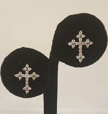 JTS 925 STERLING SILVER CROSS CRUCIFIX STUD EARRINGS WITH WHITE STONES