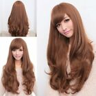 Women Girl's Light brown Costume Wig Long Curly Wavy Hair Cosplay Party Full Wig