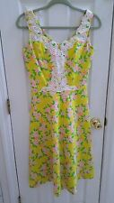 The LILLY PULITZER VINTAGE DRESS YELLOW PINK FLORAL WITH LACE-SIZE 6