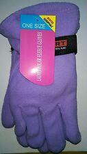One Size Winter Essentials Ladies Polar Fleece Gloves in Purple