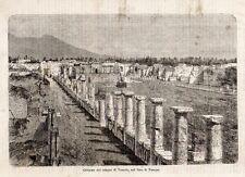 Stampa antica POMPEI Foro Tempio di Venere Napoli 1869 Old print