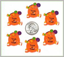 6 PC HALLOWEEN TRICK OR TREAT CANDY PUMPKIN FLATBACK RESINS HAIRBOW CENTERS