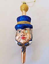 Vintage Glass Christmas Ornament Mad Hatter Scrooge Victorian Gent Top Hat Gold