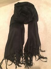 Black Pashmina Silk Scarf Shawl Wrap Christmas Gift Warm Cashmere Blend Wool New