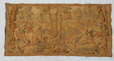 Vintage french hunting tapestry wall hanging 62x126cm T90