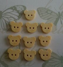 10 x Teddy Bear Plain Wooden Buttons ~ Crafts ~ Light Face