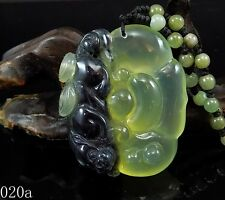 100% Natural 3D Hand-carved Icy Jade Pendant jadeite Necklace Pixiu&Ruyi 020a