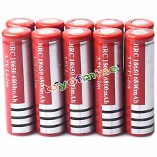 10x 3.7V 18650 Li-ion 6800mAh Flat Top Flashlight Rechargeable Battery