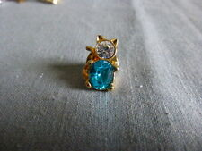 Kitty cat Aqua clear stone & clear stones on a signed gold Pin back