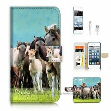 iPod Touch 6 iTouch 6 Flip Wallet Case Cover P3320 Horse
