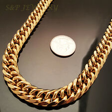 "12mm, 30"" 18K Gold Plated Stainless Steel Snake Miami Cuban Chain Necklace 503G"