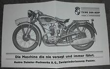 PUCH TYPE 200 ADP PROSPEKT 1933 AUSTRO DAIMLER PASSAU