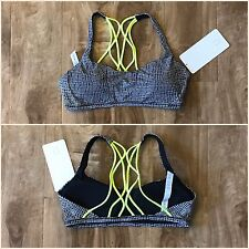 NWT Lululemon Free To Be Zen Bra Sz 8 Fall Net White Black Ray Neon Criss Cross