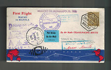 1937  Macau First Flight Cover FFC to Manila Philippines then USA Map Route