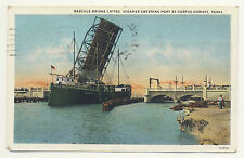 Old postcard BASCULE BRIDGE LIFTED, STEAMER ENTERING PORT AT CORPUS CHRISTI, TX