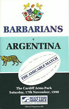 Unión de Rugby Argentina V bárbaros Centenario programa 17 de noviembre de 1990