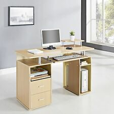 FoxHunter  Computer Desk PC Table With Shelves Drawers Home Office CD05 Walnut