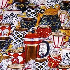 Coffee, Hot Chocolate & Tea, BTY, Wilmington Cotton Fabric, Quilt & Sew