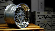 "DARE RS 16"" x 9J ET20 4x100 4x108 SILVER GOLD RIVET ALLOY WHEELS PAIR ONLY Z1752"