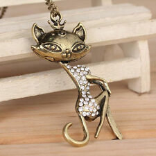 Pendant Sexy Cat Crystal Rhinestone Retro Vintage Necklace Women Girl Chain Hot