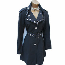 Karen Millen Tailored Military Black Posh Mac Trench Rain Coat Jacket 10 UK