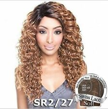 Isis Human Hair Mix Brown Sugar Swiss Lace Front Deep Side Part Curly BS209 Wig