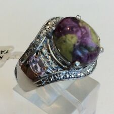 $96 TGW 5.46 cts Tasmanian Stichtite, Rose De France Pink Amethyst Ring Size 6
