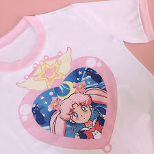 Japan Girl Harajuku Cute Lolita Cartoon Sailor Moon Printing Cotton Tee T-shirt